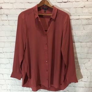 Eileen Fisher rust silk blouse buttondown small